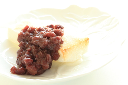 paste: red bean paste and mochi Stock Photo