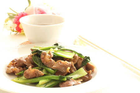 asian food: Chinese food, gizzard and vegetable stir fried