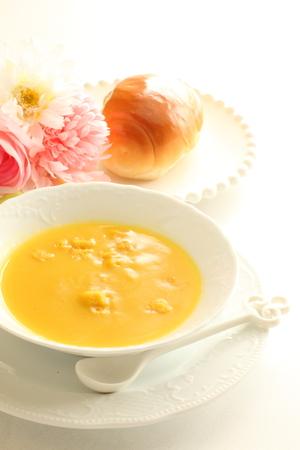 potage: cream corn soup and bread