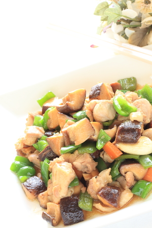 stir fried: Chinese food, chicken and vegetable stir fried