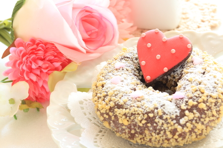 shaped: heart shaped icing cookie and donut