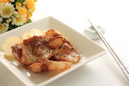grilled potato: Korean food, barbecue pork on grilled potato Stock Photo