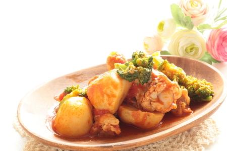 mediterranean food: Mediterranean food, chicken and vegetable stew