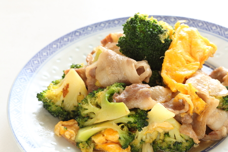 stir fried: Chinese food, port and broccoli stir fried with egg