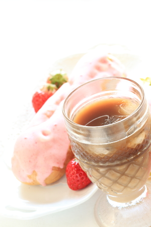 iced coffee: Iced coffee and dessert Stock Photo