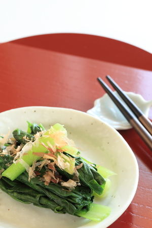 japenese: Japanese comfort food, boiled spinach with fish flake