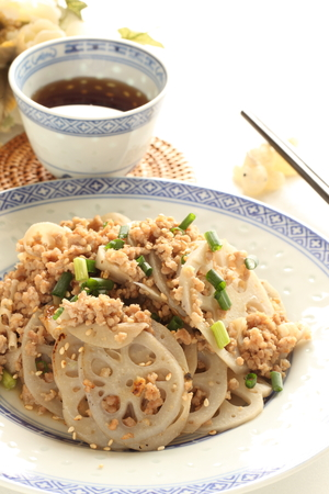 stir fried: Chinese food, lotus root and mince stir fried Stock Photo