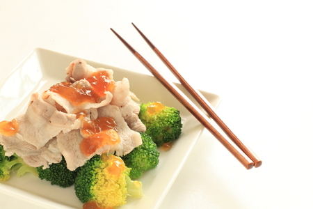 green vegetable: Boiled broccoli and Japanese jelly dressing