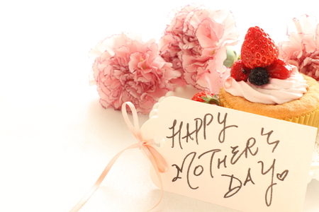 Mothers day card and carnation Stock Photo