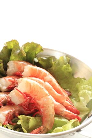 prepared shrimp: freshness prepared shrimp on lettuce for gourmet ingredient image
