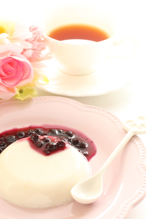 panna cotta: homemade sweet, panna cotta with blue berry sauce