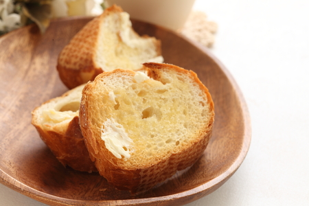 toasted: toasted french bread with butter Stock Photo