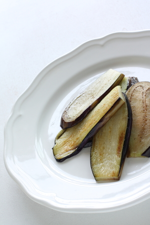 pan fried: pan fried eggplant Stock Photo