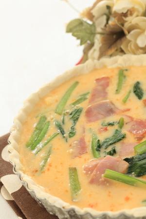 prepared: prepared bacon quiche Stock Photo