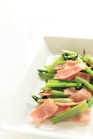 chinese spinach: chinese food, bacon and spinach stir fried