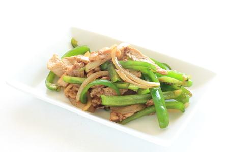 green pepper: green pepper and pork stir fried Stock Photo