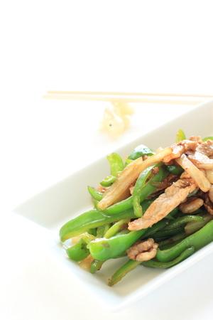 stir fried: Chinese food, pork and bell pepper stir fried