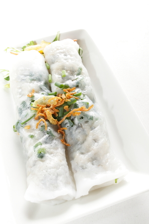 spring roll: Vietnamese steamed spring roll Stock Photo