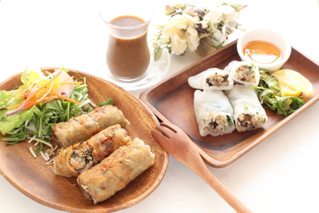 spring roll: Vietnamese steamed rice roll and spring roll