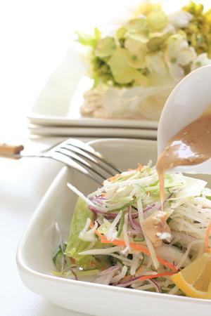 sesame dressing and radish salad