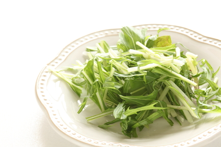 potherb: Japanese green vegetable, mizuna Stock Photo