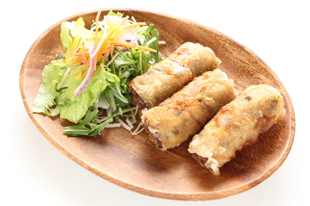 vietnamese food: Vietnamese food, spring roll with salad Stock Photo