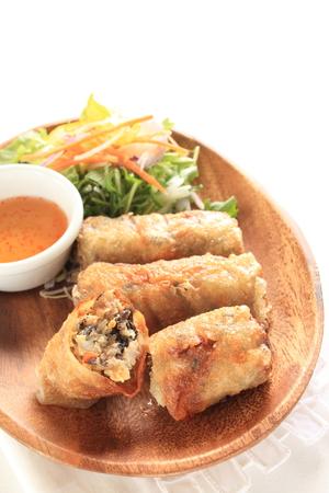 vietnamese food: Vietnamese food, spring roll with sweet sauce