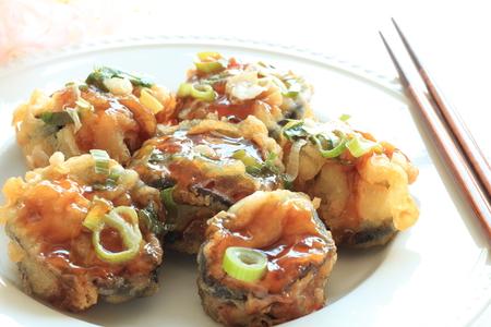 carne picada: La comida japonesa, berenjena y carne picada fritos Foto de archivo