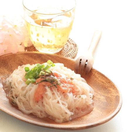 copy sapce: konnyaku and Mentaiko noodles Stock Photo