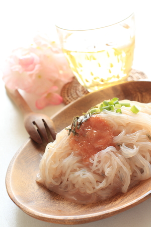 copy sapce: japanese diet food, konjac noodles with Mentaiko sauce