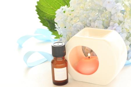aroma: Hydrangea and aroma oil Stock Photo