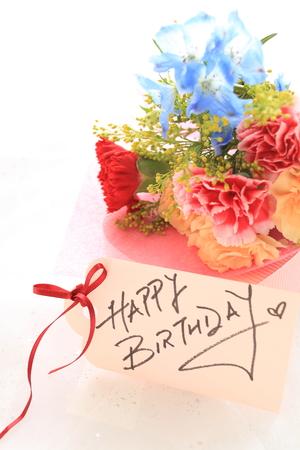 hand written: hand written birthday card and flower bouquet