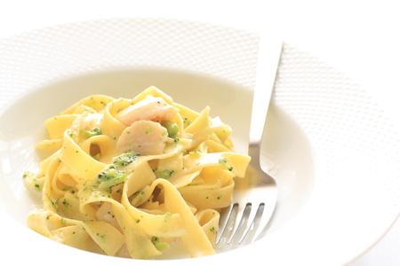 fettuccine: Italian food, scallop and fettuccine Stock Photo