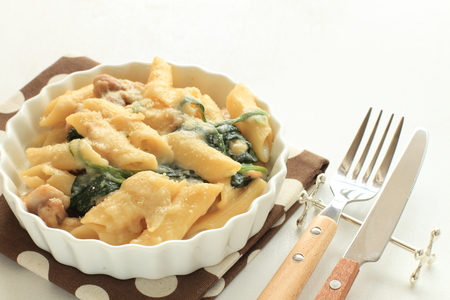 short pasta: Homemade chicken  macaroni gratin Stock Photo
