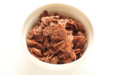 cornflakes: Chocolate cornflakes for breakfast image Stock Photo