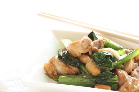 stir fried: chicken and Japanese komatsuna stir fried