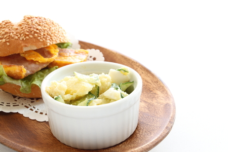 potato salad: homemade potato salad with sandwich