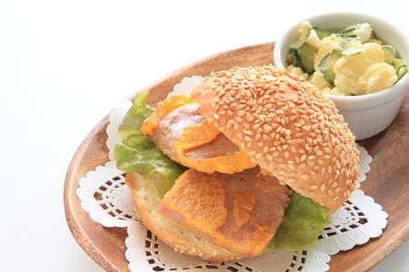 luncheon: Hawaiian food, luncheon meat and fried egg sandwich Stock Photo