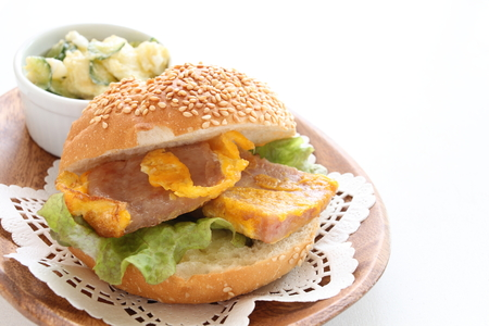 luncheon: luncheon meat and egg sandwich Stock Photo