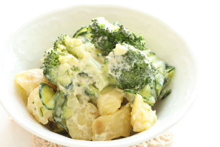 potato salad: homemade broccoli and potato salad Stock Photo