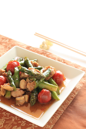 stir: green asparagus and chicken stir fried Stock Photo