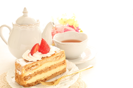French confectionery, mille-feuille  and tea