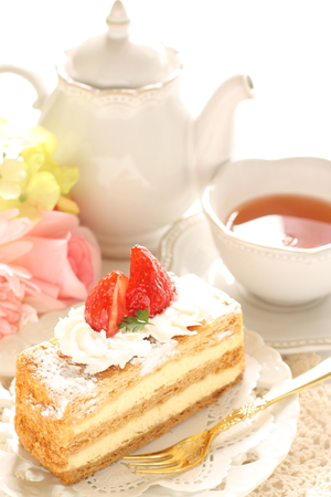 drinking tea: French confectionery, mille-feuille  and tea
