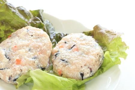 prepared: prepared Tofu and Hijiki hamburger Stock Photo