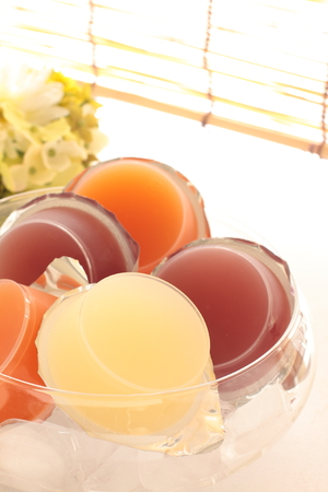 packed: assorted packed jelly Stock Photo