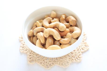 studio shots: cashew nut, nut, food, ingredient, dish, nutrition, white background, copy space, Anacardium occidentale, indoor, nobody, studio shots, bright