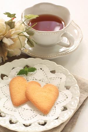 heart shaped: heart shaped cookie and tea