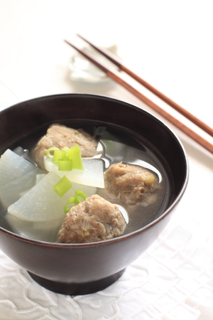 fish ball: Japanese food, sardines fish ball and radish miso soup