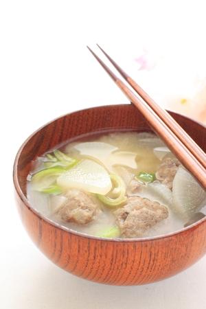 fish ball: Japanese cooking, sardine fish ball MIso soup