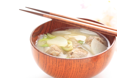 japanese cooking: Japanese cooking, sardine fish ball MIso soup
